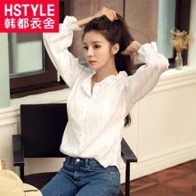 韩都衣舍2017韩版女装春装新款木耳边立领纯色长袖衬衫
