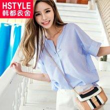 韩都衣舍2017韩版女装夏装新款条纹V领短袖显瘦衬衫