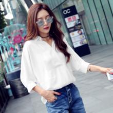 韩都衣舍2017韩版女装夏装新款蝙蝠袖宽松五分袖衬衫