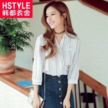 韩都衣舍2017韩版女装春装新款竖条纹七分袖立领衬衫