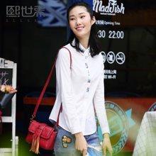 熙世界长袖白衬衫女2017春夏新款韩衬衣女105LC388
