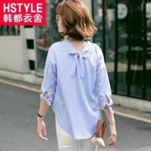 韩都衣舍2017韩版女装夏装新款竖条纹系带七分袖衬衫