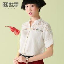 熙世界白色七分袖韩版衬衫女夏装新款立领刺绣衬衣女102LC238