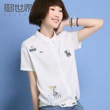 熙世界短袖白色衬衫女2017夏装新款POLO领韩版刺绣衬衣女102SC406