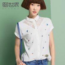 熙世界白色短袖衬衫女2017夏装新款韩版方领刺绣衬衣女装106SC340