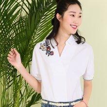 熙世界五分袖白衬衣女2017夏装新款韩版通勤刺绣上衣衬衫106SC112