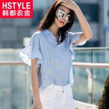 韩都衣舍2017韩版女装夏装新款宽松条纹荷叶边短袖衬衫