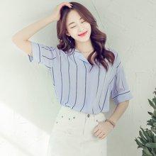 韩都衣舍2017韩版女装夏装新款薄款条纹五分袖V领衬衫