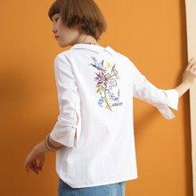 熙世界喇叭袖七分袖印花衬衫白色方领衬衣女LC006