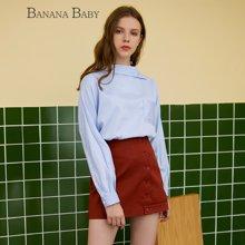 BANANA BABY不对称领条纹衬衫女长袖拼接休闲衬衣女上衣D73C792