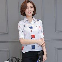 亿族 2017春夏装新款韩版修身卡通图前短后长衬衫打底衫