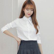 亿族 2018春秋装新款韩版棉麻上衣立领衬衣长袖衬衫