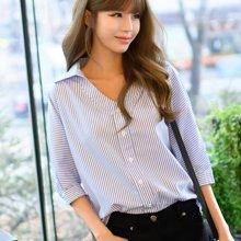 芃拉实拍2017春夏新款韩版直筒宽松显瘦七分袖条纹衬衫V领上衣女F6846