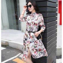 亿族 2018夏季新款韩版大码空调衫中长款防晒衣女印花开衫外套