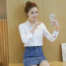 妙芙琳 2017春季新款韩版修身上衣钉珠翻领长袖白衬衫女