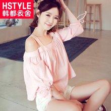 韩都衣舍2017韩版女装夏装新款宽松系带纯色露肩吊带衬衫