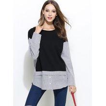 亿族 2018春季新款胖mm假两件设计显瘦百搭款大码女装衬衫拼接卫衣 6757
