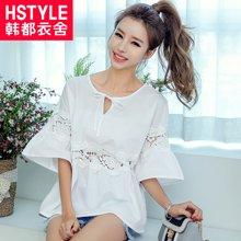 韩都衣舍2018韩版女装夏装新款五分袖镂空系带白色衬衫GS6745緈