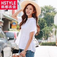 韩都衣舍2017韩版女装夏装新款显瘦纯色系带短袖衬衫