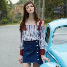 BANANA BABY2017春夏新款彩色条纹吊带一字领长袖衬衫女衬衣上衣D72C731