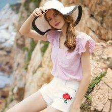 BANANA BABY2017夏新款日系甜美风条纹衬衫短袖女修身衬衣女上衣D72C109