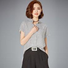 OUBOGJ 竖条纹衬衫女韩范新款上衣宽松休闲短袖衬衣女夏装前短后长B06731