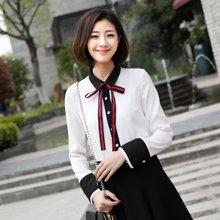 百依恋歌 秋季新款韩版时尚优雅长袖雪纺衬衫女上衣CJ0019