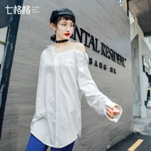 新品 七格格 白衬衫女装2018新款春装韩版学生宽松露肩衬衣长袖女士中长款上衣