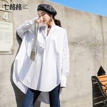 新品 七格格 白色衬衫女装2018新款春装韩版宽松学生气质圆领百搭小清新中长款
