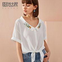 熙世界2018年春夏装新款刺绣拼接白色衬衫女方领短袖刺绣112SC010
