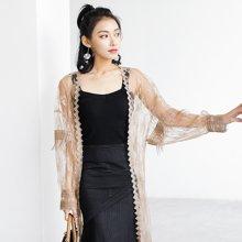 薇语馨新款勾花镂空精致蕾丝衫加长款防晒外披开衫外套女S18150