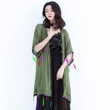 薇语馨手工织带钉珠薄款开衫外披 韩版纯色个性长款外搭防晒衣空调衫S17579