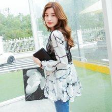 熙可儿雪纺衫长袖上衣韩版大码女装蕾丝雪纺衫长款