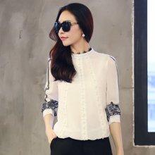 熙可儿雪纺衫长袖韩版女装品牌立领大码蕾丝雪纺衫