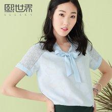 熙世界短袖白衬衫女2017夏装新款韩版衬衣女102SC211
