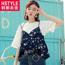 韩都衣舍2017韩版女装夏装新宽松显瘦两件套短袖雪纺衫