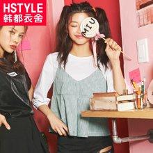 韩都衣舍2017韩版女夏装新宽松显瘦条纹假两件雪纺衫NH8869發