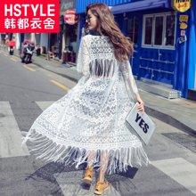 韩都衣舍2017韩版女装夏装新款流苏七分袖开衫蕾丝衫YK6372鲲0503