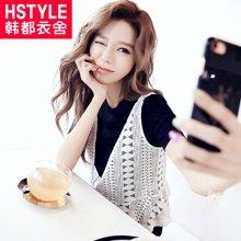 韩都衣舍2017韩版女装夏装新款两件套短袖蕾丝衫