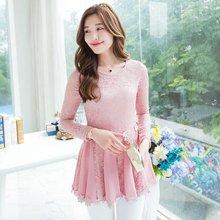 熙可儿春装长袖韩版品牌大码女装修身蕾丝打底衫