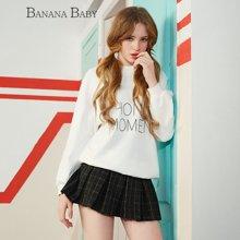 BANANA BABY2017春季新款圆领套头长袖卫衣女字母百搭中长款上衣D71Z007