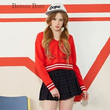 BANANA BABY2017春季新款红色V领套头长袖卫衣女运动休闲外穿外套D71Z004