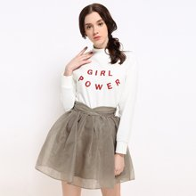 BANANA BABY春款韩版时尚简约白色印花套头卫衣女宽松上衣B64Z073