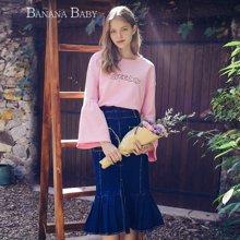 BANANA BABY2018春季新款甜美粉红喇叭袖卫衣女圆领字母刺绣上衣D81Z025