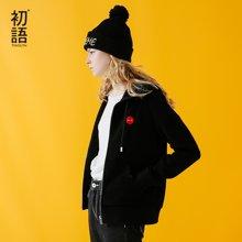 初语2017秋新款短外套软妹卫衣连帽开衫外套小清新女装学生韩版8631401718