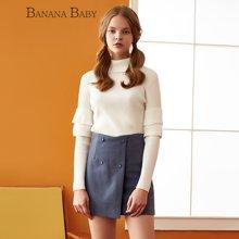 BANANA BABY新款纯色高领套头修身针织衫女打底百搭毛衣D64M138