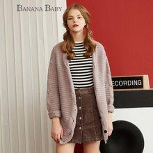 BANANA BABY2017春季新款宽松长袖毛衣女可外穿中长款针织衫外套D71M013