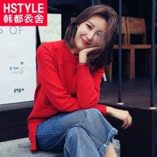 韩都衣舍2017韩版女装春装新款宽松显瘦纯色套头针织衫
