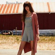BANANA BABY新款韩版纯色宽松百搭针织衫中长款开衫外套D63M071