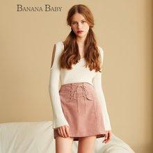 BANANA BABY新款白色V领套头微喇叭长袖针织衫女气质上衣D63M069